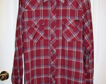 Vintage 1960s Men's Red Plaid Snap Front Western Shirt by Roebucks XL Only 9 USD