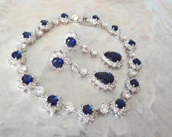 Sapphire bracelet and earring set, Cubic zirconias, Brides jewelry set, Halo design, Something blue, Wedding jewelry set, KATE