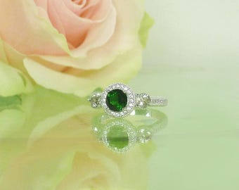 Green Ring, Green Engagement Ring, Tourmaline Ring, Green Tourmaline Ring, Natural Gemstone Ring, Natural Tourmaline Ring, Unique Ring