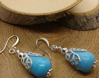 Turquoise Blue and Silver Dangle Earrings