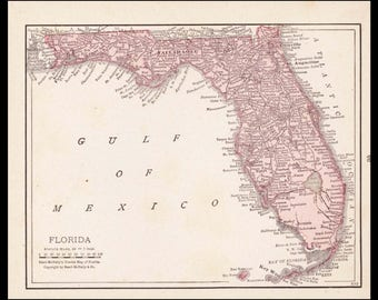 Small Florida Map of Florida State Map (Wall Art, Early 1900s Antique State Decor) 100 Year Old Antique Map No. 35-3
