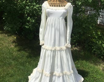 Maxie Dress 1970s Handmade Wedding Gown  Empire Waist Tiered Lace Ivory Full Length Vintage Boho Prairie Hippie Dress