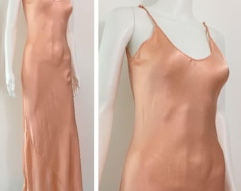 1930's Long Silky Crepe Nightgown Peach