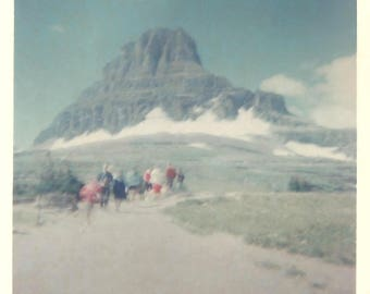 """Vintage Snapshot """"The Pilgrimage"""" Out Of Focus Color Snapshot Mountain Clouds Found Vernacular Photo"""