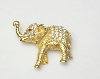 Vintage Brooch Animal Elephant Rhinestone Gold 1980s Costume Jewelry Pin Gift For Her Best Deal