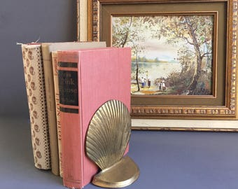 Brass Clam Shell Bookends Nautical Decor