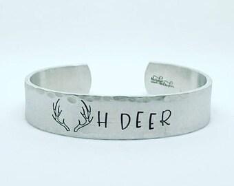 Oh Deer Bracelet - Hand Stamped Bracelet - Inspirational Jewelry - Cuff Bracelet Jewelry - Stamped Jewelry - Hand Stamped Jewelry