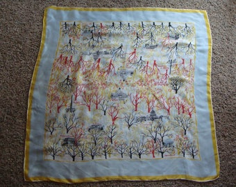 washington dc LARGE SILK SCARF vintage souvenir scarf