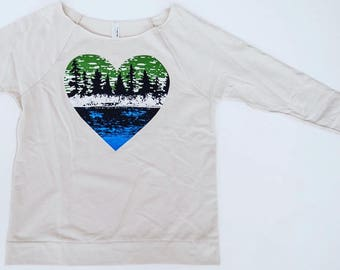 Gift for her Lake life apparel Womens sweater nature lover shirt outdoor lover tree hugger printed shirt Lake Life lightweight sweater