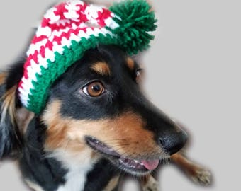 Crochet Elf Dog Hat, Christmas Hat, Festive Hat Fur Baby Gift, Cute Dog Hat by Just For Doggy With Love - Cherry Red, White, & Paddy Green