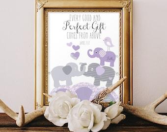 BABY DEDICATION GIFTS, godparent gift, girl baptism gifts, children's prayer, Bible verse for child, baby's keepsake, purple gray 8x10 print