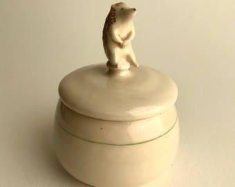 porcelain hedgehog bowl with lid