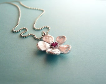 Silver Cherry Blossom Necklace with Gemstone - Ruby or Cubic Zirconia