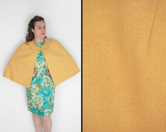 Mustard Yellow CAPE 1960s Peter Pan Collar Capelet One Size