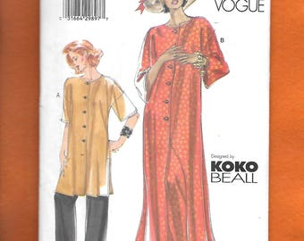 Vogue 7053 Misses' Tunic And Pants, Long Or Short, Dropped Shoulders, Side Slits, & Elastic Waist Pants, By Koko Beall, Sizes 8-10-12, UNCUT