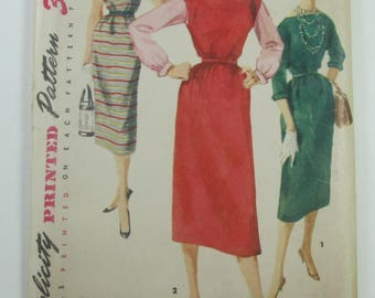 Chemise Style Dress With Three Quarter Sleeves Or Jumper No Waistline Seam Simple To Make Vintage Size 14 Sewing Pattern Simplicity 1008
