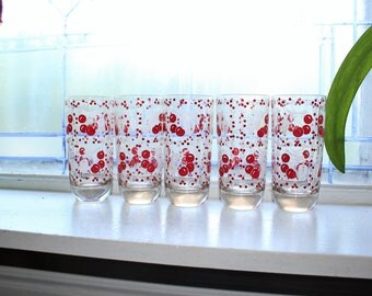 5 Mid Century Glass Tumblers Red and White Cherries Vintage 1950s