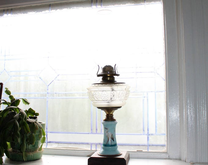 Victorian Oil Lamp Black Metal Base Milk Glass Body Antique 1800s