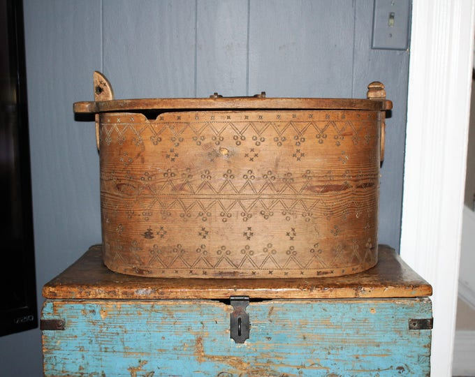 Large Antique Norwegian Bride's Box Wood Tine Chest 1800s Folk Art
