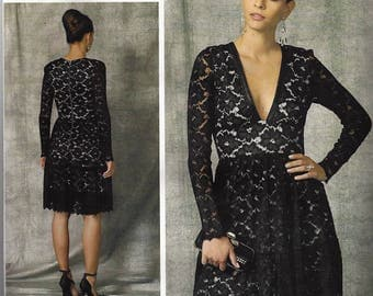 NICOLE FINETTI Vogue American Designer Original Pattern V1471 Misses Dress Size 14-22~Deep-V Lace Dress  New
