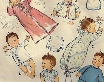 Vintage 1960's Baby Layette Pattern Simplicity #5163 Sew Adorable Kimono, Saque. Sleeper. Pajamas, Undershirts and Bibs