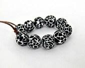 Black and white beads/ handmade beads/ Beads/ black and white/ black beads/ 10 mm round beads/ animal print beads/ black & white round bead