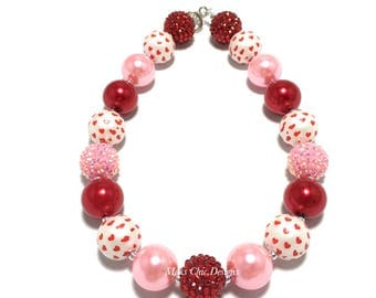 Toddler or Girls Pink and Red Heart Valentine's Day Chunky Necklace - Heart Chunky Necklace - Girls Love Necklace - Valentines day Jewelry