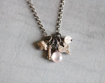 Charm Necklace, Gemstone Necklace, Sterling Silver, Heart Charm, Rose Quartz, Aquamarine, Thai Silver, Elephant Charm, Wire Wrapped, Boho
