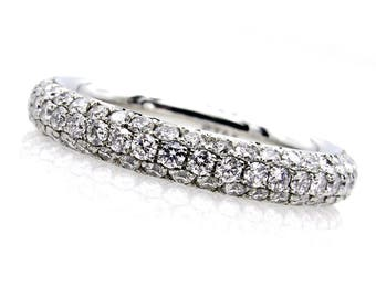 1.75ct Platinum 3 Row Pave Diamond Full Eternity WEDDING ANNIVERSARY Band Ring