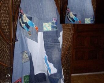 strapless asymmetrical denim batik  maxi dress  accents/ hippie wedding gown (Made To Order)