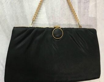 Classic 50s Black Satin Clutch Evening Purse Handbag