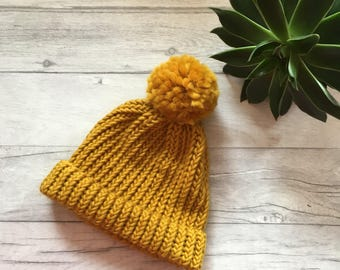 Chunky Knit Mustard hat, knit accessories, wool hat, chunky winter headwear, ladies beanie, chunky knitwear, mustard pompom, outdoor gift