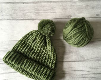 Olive green knitted hat, Woman knit hat, men knitted hat, hipster beanie, pom pom hat, chunky knit hat, gifts for women, luxury knitwear