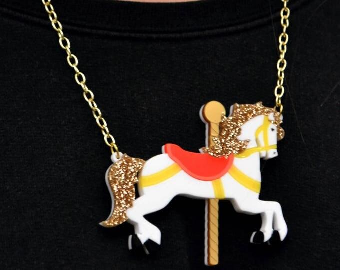 New in Gift Box Sugar and Vice Acrylic Carousel Galloper Horse Fairground Fun Fair Statement Necklace Gold Chain Glitter