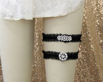Jeweled Black Ruffle Elastic Garter Set, Rhinestone Black Lace Garter,Black Wedding Garter Belt - 1812