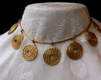 Gold Tone Choker Necklace Dangling Metal Swirls Vortex Spiral Necklace Hand Crafted Artisan Jewelry