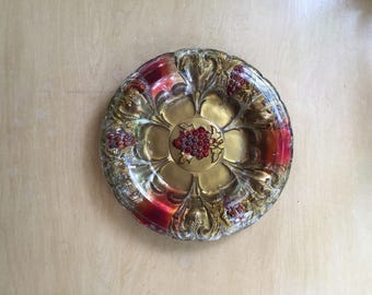 antique vintage goofus glass plate with grapes