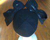 Vintage black cap with bows Free US Ship