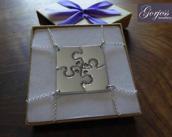 Four Corner Puzzle with Hearts, Silver Pendant Necklaces 2