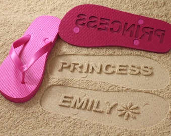 Custom Name Flip Flops - Personalize Sand Imprint Sandals *check size chart before ordering*