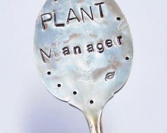 Garden Marker PLANT MANAGER  // stamped Spoon for your Plants and herbs - Great gift for your Plant Sitter