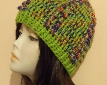 Crochet Bobble Hat, Textured Hat, Bobble Beanie Hat, Popcorn Stitch Crochet Hat, Boho Hat, FREE UK DELIVERY
