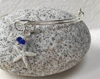 Maine Atlantic sea glass adjustable bangle charm bracelet, beach bracelet, bangle bracelet, charm bracelet, beachcomber bangle bracelet
