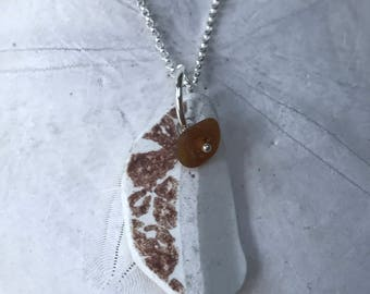 Brown and White Sea Pottery Necklace, Brown Sea glass, Atlantic Sea Glass Sea Pottery Necklace, Sea Glass Necklace, Beach Bridal Wedding