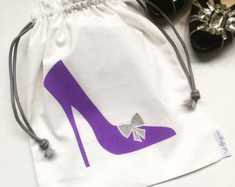 Purple Shoe Drawstring Bag, Travel Bag