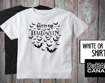 Batty for Halloween Shirt - Halloween Toddler T-Shirt - Bat Halloween Tees - Cute Kids' Halloween Shirt - Bat Costume - Halloween Clothes