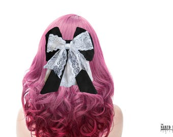 LHB1 Lolita Hair Bow Black Cotton and White Lace Barrette