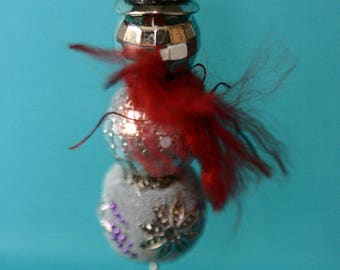 Snowman Christmas ornament, handmade, beaded ornament, winter, silver, red, package decoration, hanging snowman, round beads, sparkly