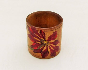 Antique napkin ring, Victorian hand painted wood napkin ring, Christmas napkin ring with poinsettia
