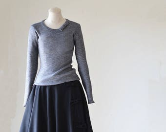 Black Flare Skirt with Side Bows